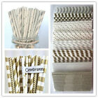 50x Golden and Silver Striped/Chevron/Star/Sailor Striped Paper Dringking Straws