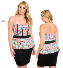 D81 Womens Formal Cocktail Party Evening Wedding Plus Size Floral Peplum Dress