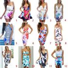Women Dresses Colorful Flower Vacation Beach Short Slip Dress #02