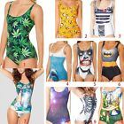 Women Swimwear Cartoon 3D Colorful Painted One Piece Swimsuit