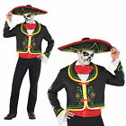 Adults Day Of The Dead Costume Mexican Sombrero Mariachi Skeleton Fancy Dress