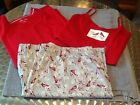 Kim Rogers 3 Pc Pajama Lounge Set Plus Size Winter Red Cardinals Long New NWOT