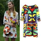 Women Round Neck 3/4 Sleeve Chiffon Cocktail Party Evening Shift Mini Dress C99D