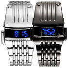 Luxury Stainless Steel Band Mens Digital Date Blue LED Sport Quartz Wrist Watch
