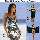 Saress BLACK PALM Beachdress Coverup Swimwear Bikini Wrap Sarong Dress