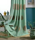 Custom French Country Coffee Leaf Tree Embroidery Green Window Curtain