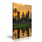 BUDDHA TEMPLE Thailand Sunset Canvas Wall Picture Print ~ More Size