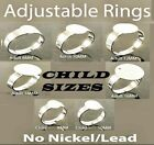 50pcs Adjustable SILVER Plated CHILDRENS Size RINGS BASES BLANKS Pads * 8mm 10mm