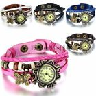 Womens Girls Vintage Fashion Butterfly Leather Bracelet Charm Quartz Wrist Watch image