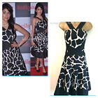 Karen Millen Giraffe Print Dress Black White DN198 Full Skirted Skater Sizes 6 8