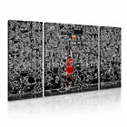 Michael Jordan Basketball Icon Modern Sports Framed Canvas Box ~ 3 Panels