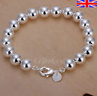 "Silver 925 Sterling 8mm Ball Bead Bracelet Bangle 8"" Free Gift Bag"