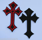 1 - Iron on - Cross - 10 x 6.5cm - Goth/Biker - Embroidered Patch - Applique