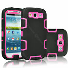 Shock Absorb Defender Heavy Duty Rubber Plastic Case Cover For Samsung Galaxy S3