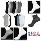 New 12 Pairs Mens Womens 9-11 10-13 Crew Ankle Cut Sports Socks White Grey Black