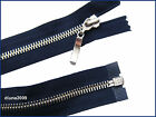 NAVY BLUE ZIP/ METAL SILVER TEETH OPEN ENDED.Different Sizes.(85-45 cm)