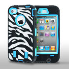 Zebra Rubber Matte Rugged defender Hard Case Cover For iPhone 4 4S w/ Faceplate