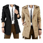 Men's Winter Slim Double Breasted Trench Coat Long Jacket Overcoat Outwear Hot