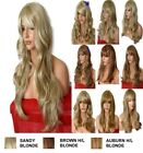 BLONDE Wig Streak Natural Long Curly Straight Wavy Synthetic Wig Women Party UK