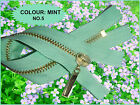 MINT  ZIP/ METAL GOLD TEETH CLOSED ENDED. No 5  Sizes:  80 cm - 15 cm