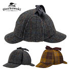 Harris Tweed Deerstalker Cap  100 Wool Hunting Sherlock Holmes Walking Hat