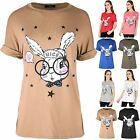 Womens Ladies Nice Bunny Geek Rabbit Turn Up Sleeve Oversized Baggy T Shirt Top