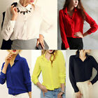 Fashion New Women's Lady Loose Long Sleeve Chiffon Casual Blouse Shirt Tops EC