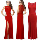 Sexy Women Red Lace Long Dress Bodycon Cocktail Party Wedding Dresses Clubwear