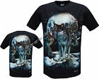 Snow Wolf Pack Native American Indian Biker T- Shirt Front & Back Print M - 3XL
