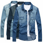 T6268 New Men's Double pocket Casual Denim Shirts Stylish Wash Jeans Jackets