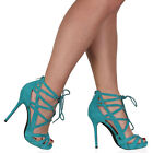 WOMENS STRAPPY AQUA GREEN LADIES LACE UP STILETTO HEEL SANDALS SHOES SIZE 3-8
