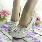 Diamond White Flower Wedding Bridal Shoes High Heels Mary Evening Party Lace NEW