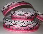 """GROSGRAIN PINK DENVER BRONCOS CHICK FOOTBALL 1"""" INCH RIBBON FOR HAIR BOWS CRAFTS $7.19 USD on eBay"""