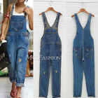 Womens Baggy Denim Jeans Full Length Pinafore Dungaree Overall Jumpsuit Playsuit
