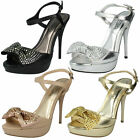 LADIES SPOT ON PEEP TOE HIGH HEEL SHOES WITH BOW DETAIL IN 4 COLOURS - F1973 ES