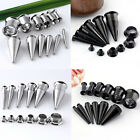 2 in 1 Set Steel Taper Stretcher Kit Screwed Ear Tunnels Plugs Expander Gauges