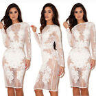 Sexy Women Lace See-through Bodycon Party Cocktail Evening Short Dress Clubwear