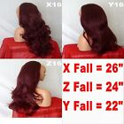 PLUM WINE Long Curly Layered Half Hair Piece Ladies 3/4 Wig Fall Clip in #99J
