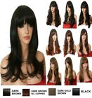 Brown Wig Streak Natural Long Curly Straight Wavy Synthetic Wig Women Party UK