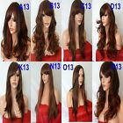BROWN HIGHLIGHTED AUBURN Long Wavy Straight Full Ladies Wig Halloween #2H350