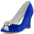 WP1549 Blue Peep Toe Wedges Shoe Clips Pleated Satin Prom Wedding Party Shoes