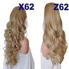 LIGHT HONEY Long Curly Layered Half Wig Hair Piece Ladies 3/4 Wig Fall Clip in