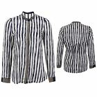 Women's Studded Collar Long Sleeve Ladies Striped Chiffon Sleeves Blouse Shirt