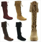 Kyпить New Women's Fashion Sassy Fringe Moccasin Lace Up Knee High Flat Boots Shoes на еВаy.соm