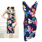Floral Print Crossover V-Neck Gathered Party / Race Dress In Size 10, 12, 14, 16
