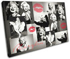 Monroe Red Lips  Iconic Celebrities CANVAS WALL ART Picture Print VA