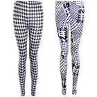 Womens Dogtooth  Pattern Monochrome B&W Stretch Smart Casual Party Leggings
