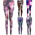 Womens Planets Nebula Space Galaxy  Dip Dye Feather Stretch Party Leggings