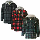 Mens Check Lumberjack Jacket Fleece Lined Flannel Hooded Plaid Worker Shirt
