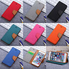 Flip Canvas Cowboy PU Leather Wallet Stand Card Slot Book Case Cover for iPhone